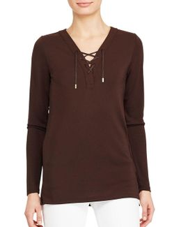 Solid Lace-up Top