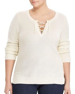 Cotton-blend Lace-up Pullover