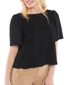 Crepe Tie-accented Top