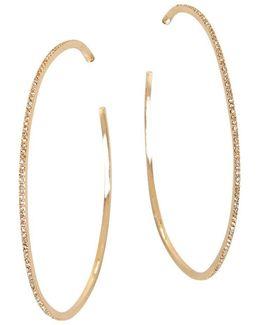 Pave Hoop Earrings, 2.5 In