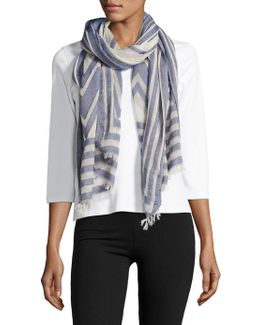 Geometric-printed Cotton-blend Scarf