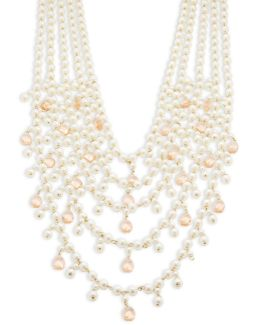 Faux Pearl Multi Row Necklace
