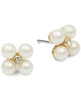 Faux Pearl Mini Cluster Postback Earrings