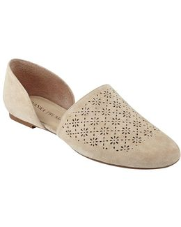 Evana D Orsay Perforated Suede Flats