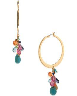 Semi-precious Cluster Hoop Earrings, 1.5 In