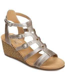 Sparkle Strappy Wedge Sandals