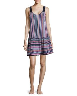 Striped Crochet Trimmed Chemise