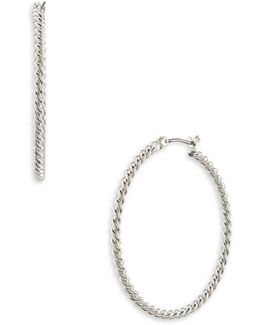 Perfect Pieces Silver Twisted Hoop Earrings-1.6in