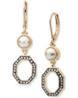 Crystal & Reconstituted Stone Square Framed Drop Earrings