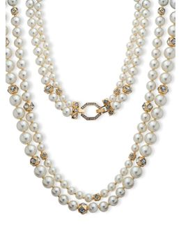 8mm, 10mm, 12mm Faux Pearl Two-row Collar Necklace