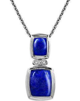 Diamond, Lapis & Sterling Silver Pendant Necklace