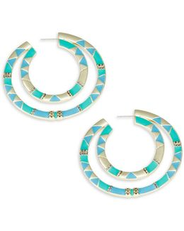 Double Nested Geometric Accented Hoop Earrings