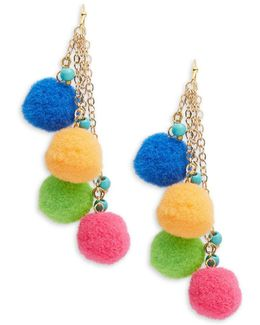 Pompom-accented Drop Earrings