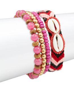 Four-piece Multi Color Beaded And Cloth Bracelet Set