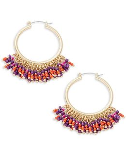 Beaded Fringe Accented Hoop Earrings