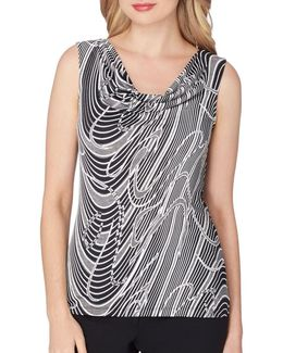 Cowlneck Printed Texture Top