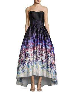 Watercolor Print Strapless Ball Gown