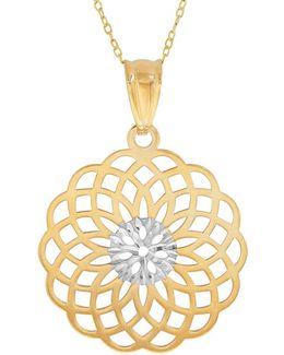 14k Pdc Yellow Gold And Rhodium Geometric Burst Pendant Necklace
