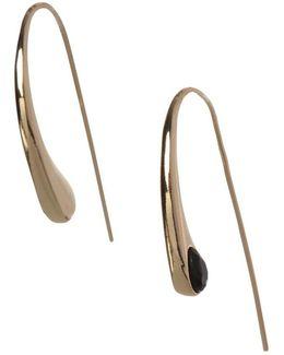 Goldtone Stone-accented Teardrop Threader Earrings