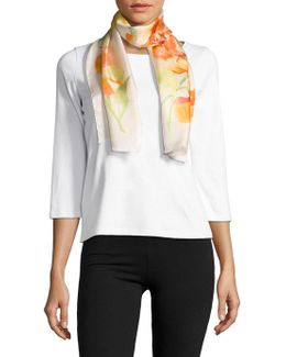 Oana Floral-printed Silk Scarf