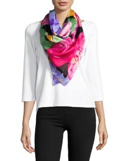 Annabelle Floral-printed Silk Scarf