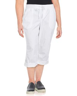 Solid Cotton-blend Capri Pants