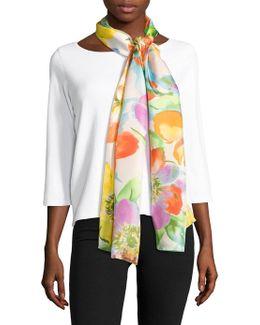Caitlin Floral-printed Silk Scarf