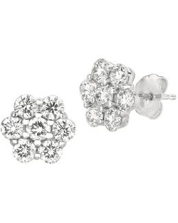 Diamonds And 14k White Gold Stud Earrings