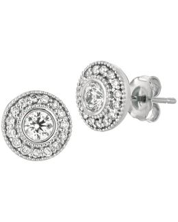 Diamonds And 14k White Gold Circular Stud Earrings