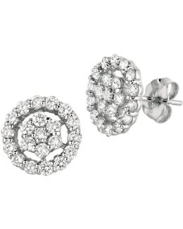 Diamonds And 14k White Gold Openwork Stud Earrings