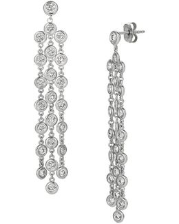 Diamonds And 14k White Gold Drop Earrings