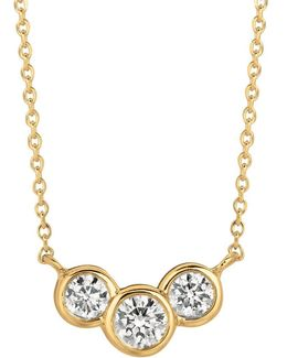 Diamond And 14k Yellow Gold Pendant Necklace
