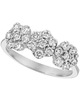 Diamond And 14k White Gold Floral Ring