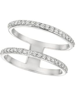 Diamond And 14k White Gold Two-row Ring