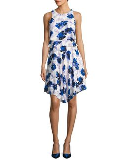 Floral-print Chiffon Popover Dress