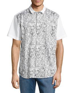 Scribble Print Button-down Shirt