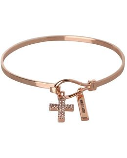 Basic Crystal Studded Cross & Have Faith Charm Bracelet