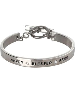 Basic Happy, Blessed, Free Etched Bracelet