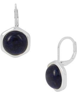 Hexed Geometric Semi-precious Sodalite Stone Drop Earrings