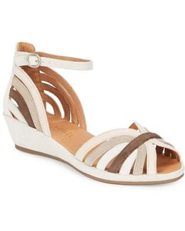 Leah Leather Wedge Sandals