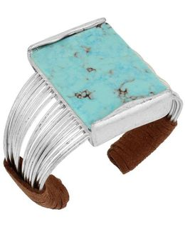 Mosaic Semi-precious Turquoise Stone And Silverplated Multi Row Cuff Bracelet