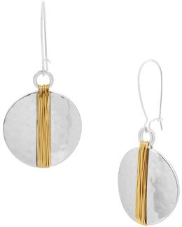 Two-tone Wire Wrapped Circle Long Drop Earrings