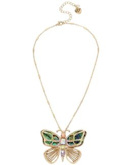 Buzz Off Mother-of-pearl Butterfly Pin Pendant Necklace