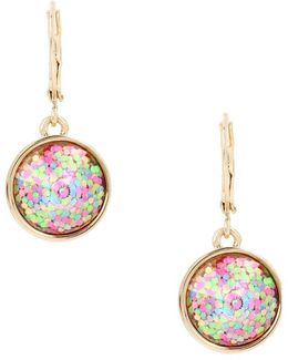 Buzz Off Glitter Round Drop Earrings