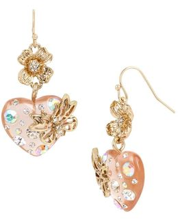 Flower & Heart Insect Double-drop Earrings