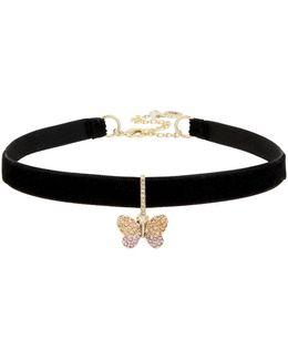 Pave Butterfly Charm Black Choker