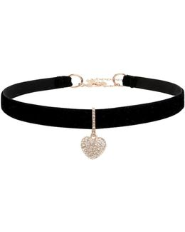 Pave Heart Charm Pendant Choker Necklace