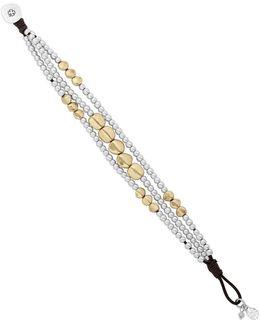 California Gardens Semi-precious Rock Crystal Dual-tone Beaded Leather Bracelet
