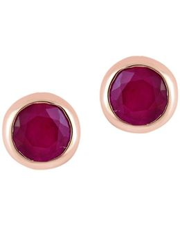 Amore Ruby And 14k Rose Gold Stud Earrings