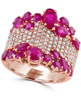 Amore 1.12 Tcw Diamond, Ruby And 14k Rose Gold Ring